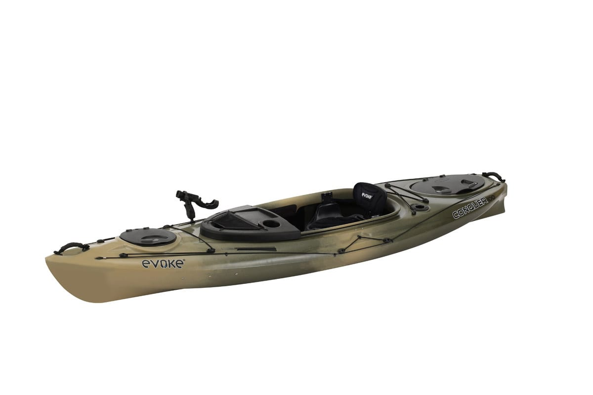 Evoke conquer 100 sit in fishing kayak eastern for Sit on vs sit in kayak for fishing