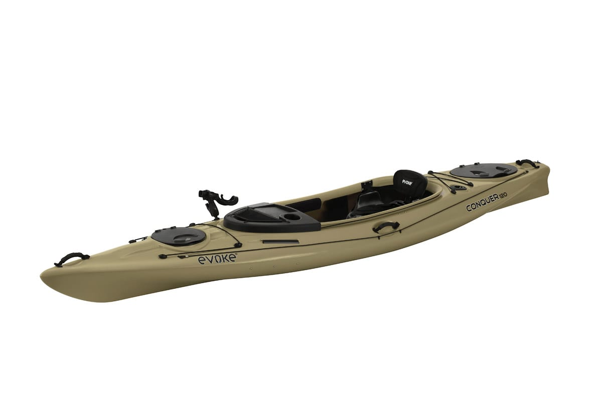 Evoke conquer 120 sit in fishing kayak eastern for Sit on vs sit in kayak for fishing
